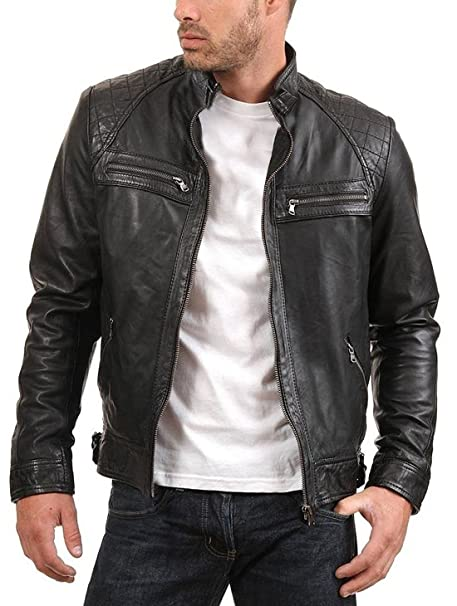 Amazon.com: Urban Leather Factory ENZO - Chaqueta de piel de ...
