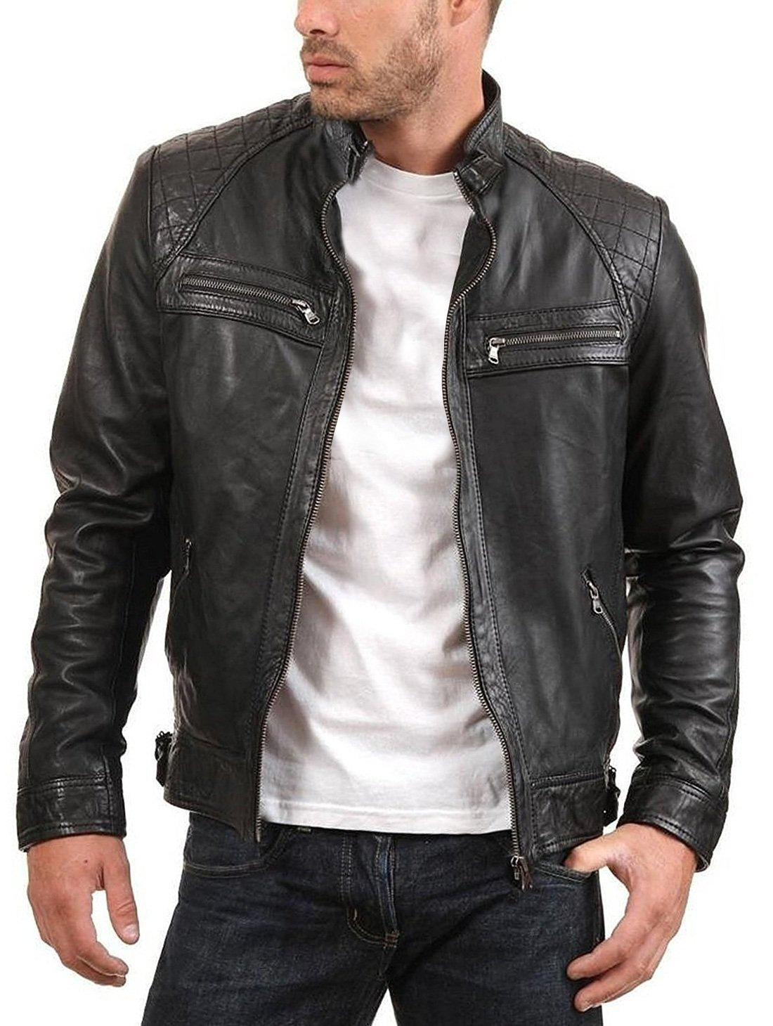 Urban Leather Factory Men's ENZO Black Genuine Lambskin Vintage Leather Jacket M Black by Urban Leather Factory