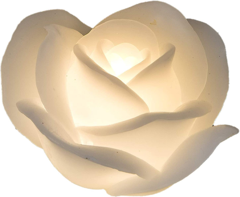 Formano Wei/ße Rose 13cm LED Echtwachs Kerze Blumen-Kerze mit beweglicher Flamme Warm-Wei/ß Timer-Funktion Deko-Idee