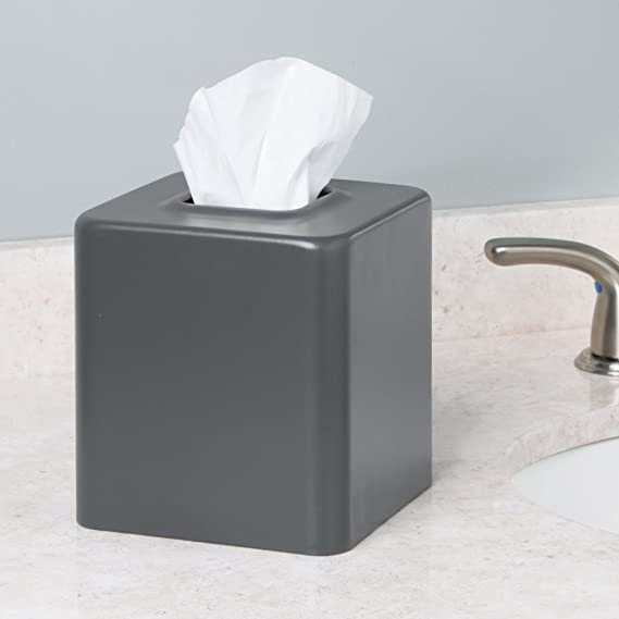 mDesign Caja cuadrada para pañuelos descartables - Caja para pañuelos de papel tisu - Contenedor para pañuelos desechables - Gris mate: Amazon.es: Hogar