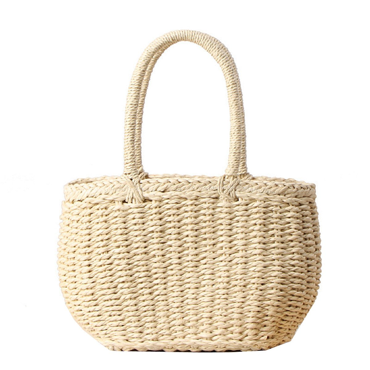 Andear Womens Casual Straw Woven Basket Handbag Summer Beach Vacation Tote Purse Bag Top Handle Bag 1-Beige