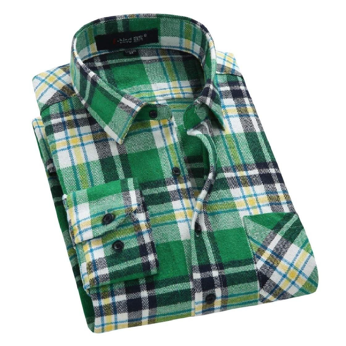 YUNY Men Turn Down Collar Long Sleeve Plaid Casual Relaxed-Fit Flannel Shirt AS13 XL