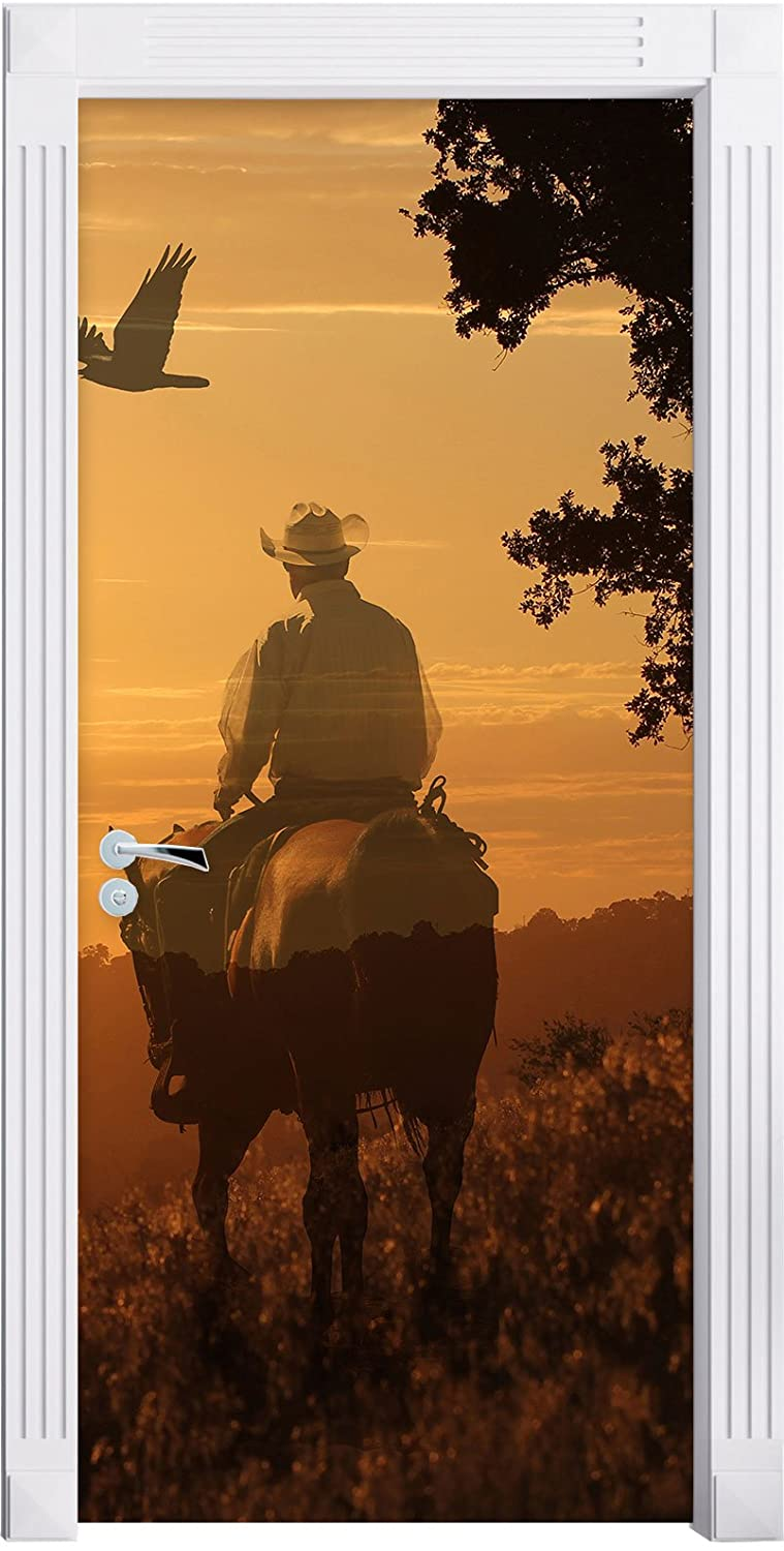 A cowboy in the sunset as Mural, Format: 200x90cm, door frame, door stickers, door decoration, door stickers Stil.Zeit