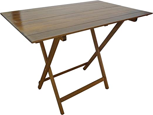 SF Savino Filippo - Mesa plegable de madera de nogal marrón, 100 x 60 cm, de haya con listones para camping, casa, jardín, picnic: Amazon.es: Jardín