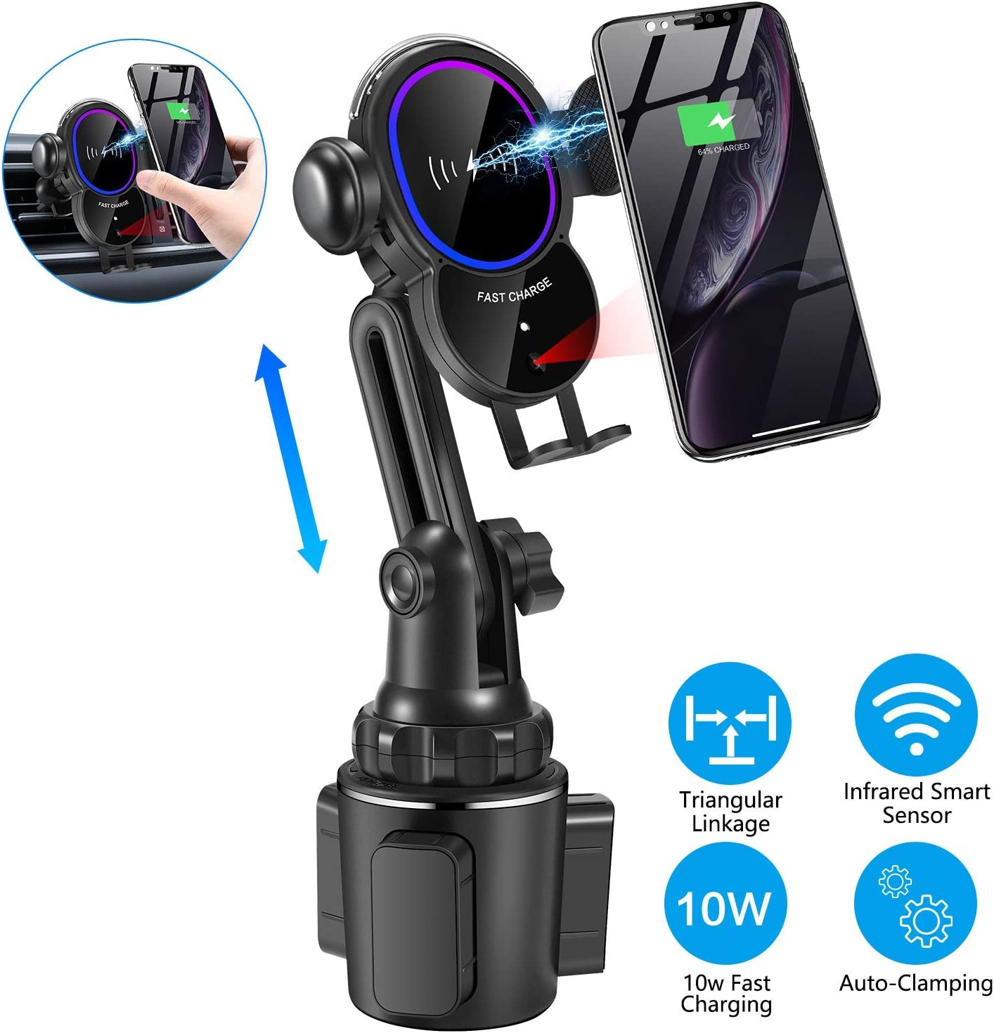 Car Cup Phone Holder Wireless Car Charger Mount NeotrixQI Auto Clamping Qi Fast Charging Cup Holder Phone Mount 7.5W for iPhone Xs Max//XR//Xs//X//8 Plus 10W for Samsung Galaxy S9 //S8 Plus