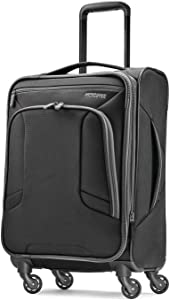 American Tourister 4 Kix Expandable Softside Luggage with Spinner Wheels, Black/Grey, Carry-On 21-Inch