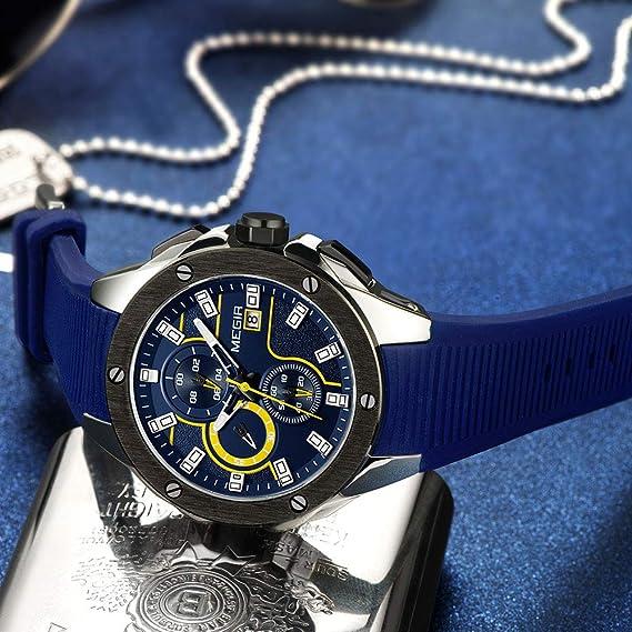 Amazon.com: Megir Mens Chronograph Quartz Watches Mens Analogue Military Luminous Blue Dial Wrist Quartz Watch with Stylish Sport & Business Work Strap: ...