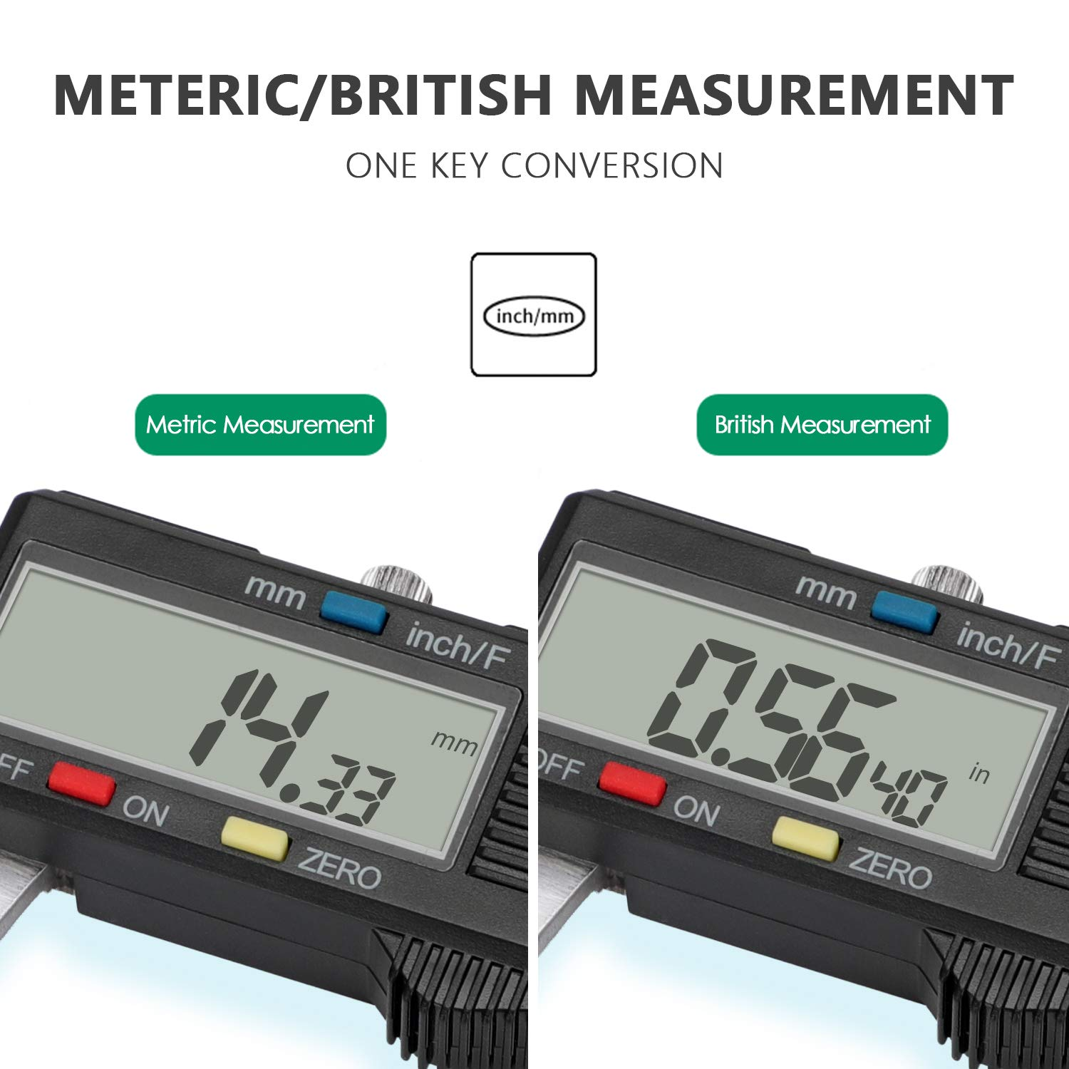 Digital Caliper Inch and Millimeter Conversion Measuring Tool Perfect for Household//DIY Measurment POWERAXIS 150mm 0-6 inches Vernier Caliper with Large LCD Screen Auto-off Feature
