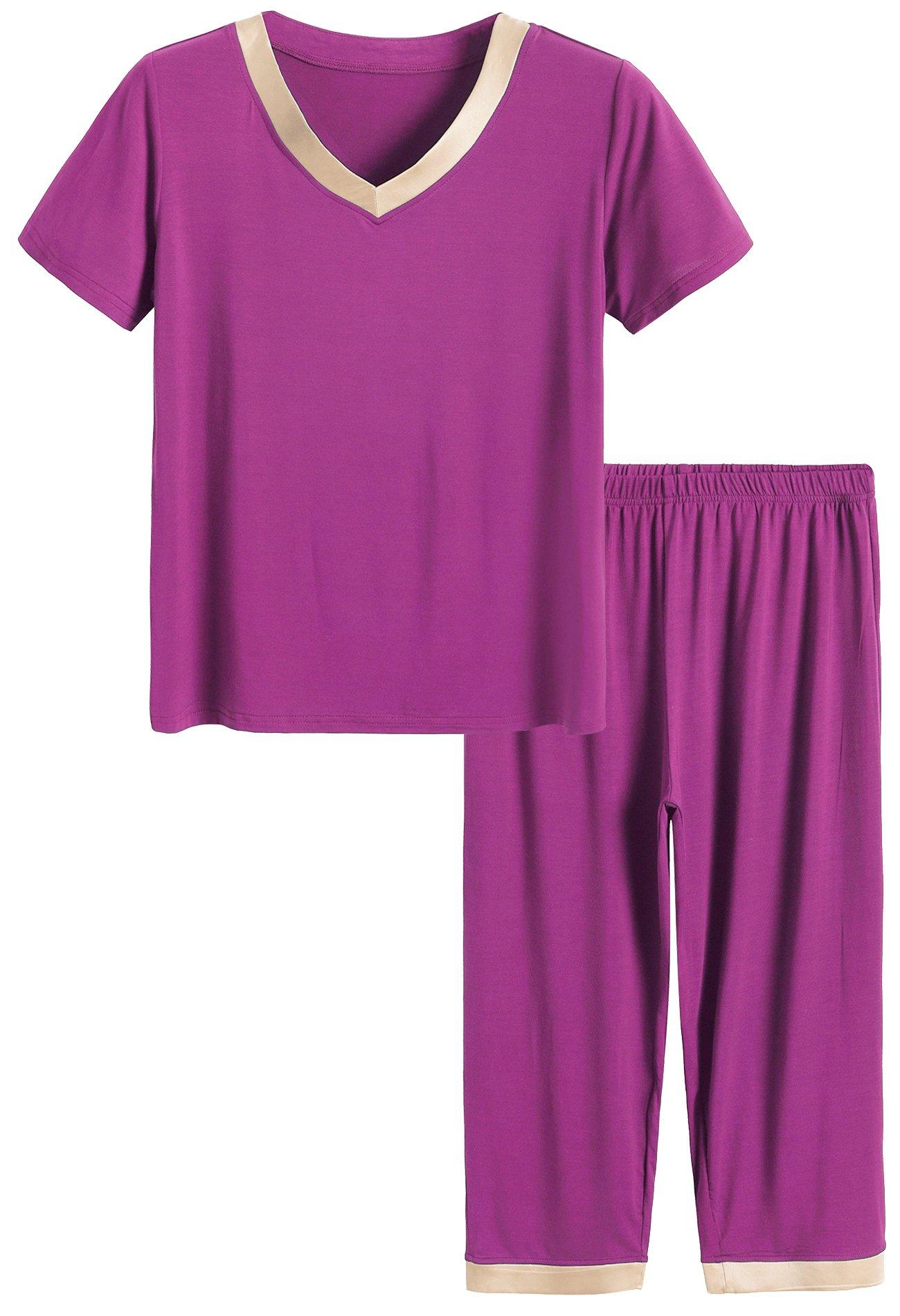 Latuza Women's Sleepwear Tops with Capri Pants Pajama Sets 2X Boysenberry with Khaki Satin