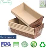 """Paper Loaf Pan, Disposable Paper Baking Loft Mold 25ct, All Natural FDA Approved, Recyclable, Microwave Oven Freezer Safe, Providing Beautiful Display For Baked Goods (6""""x 2.5""""x2"""")"""