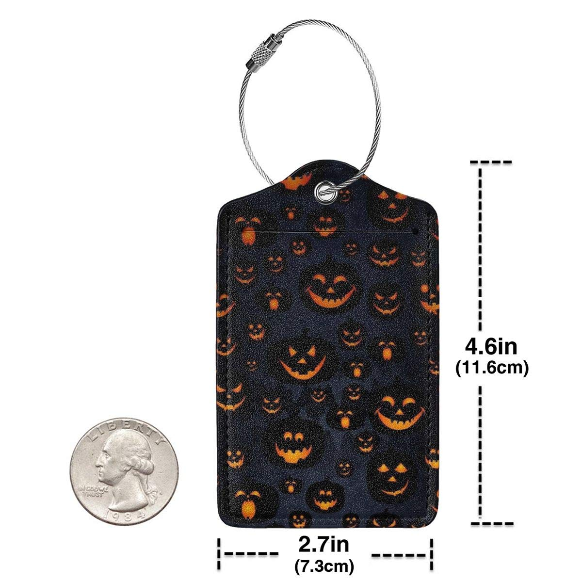 Key Tags for Christmas Birthday Couples Gift Leather Luggage Tags Full Privacy Cover and Stainless Steel Loop 1 2 4 Pcs Set Halloween Pumpkin Skull Patterns 2.7 x 4.6 Blank Tag