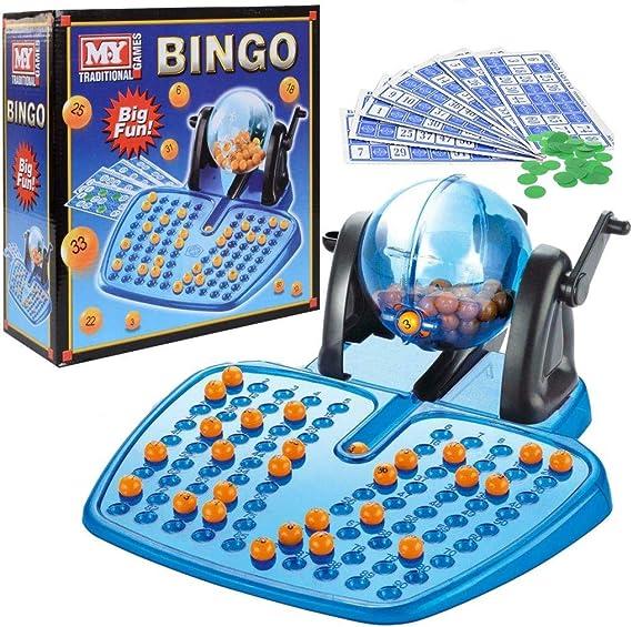 BINGO LOTTO GAME 48 CARDS 100 COVERING CHIPS 90 BINGO BALLS AND THE BINGO BALL DISPENSER: Amazon.es: Juguetes y juegos