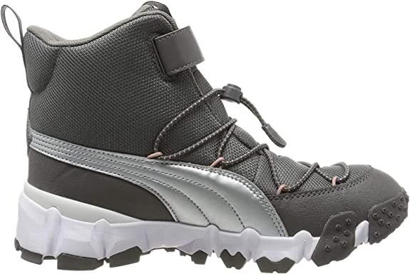 PUMA Unisex Kids Maka V Jr Trainers, Grey (Steel Gray-Bridal Rose), 6 UK 39 EU,Puma,192533
