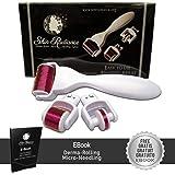Skin Radiance™ 3in1 Dermaroller Visage Et Corps 0.5 mm 1.0mm & 1.5mm. Ebook Gratuit en Français Inclus!! Professionnel 3 in 1 Derma Roller Kit. Titanium Coated Needles -