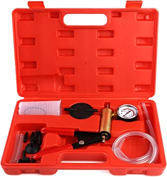 for Automotive Vehicle FEMOR Hand Held Vacuum Pump Tester Adapter and Case Brake Bleeding Kit with Vacuum Gauge Truck and Motorbike