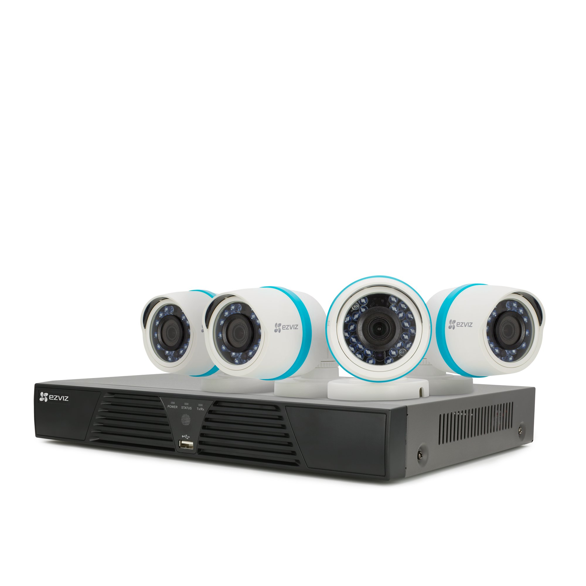 EZVIZ FULL HD 1080p Outdoor IP PoE Surveillance System, 4 Weatherproof HD Security Cameras, 4 Channel 1TB NVR Storage, 100ft Night Vision, Customizable Motion Detection