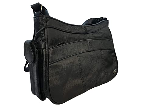 33726fca1c Leather Ladies Handbag - Black Soft Leather - Single Strap Shoulder Bag -  Premium Cow Hide Leather - Small to Medium Size - Can Be Worn A-Cross Body  - ...