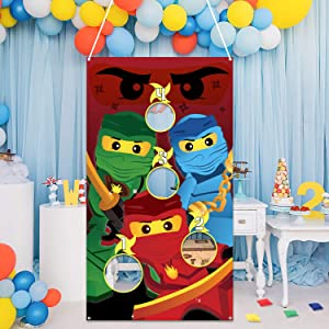MALLMALL6 Ninja Toss Game for Kids Ninja Theme Family Party Favor Supplies Children Adults Tossing Bean Bags Cartoon Poster Decoration for Boys Girls