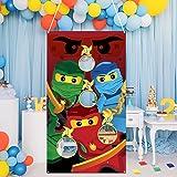 MALLMALL6 Ninja Toss Game for Kids Ninja Theme Family Party Favor Supplies Children Adults Tossing Bean Bags Cartoon…