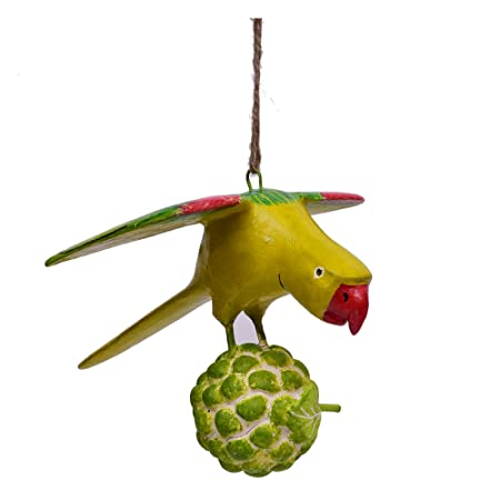 CINAGRO - Hanging Wooden Parrot Figurine for Garden & Home Decor. Pure Handmade Product Using Ponki Wood & Natural Colors