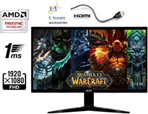 "Acer Gaming Monitor 23.6"" KG241Q bmiix 1920 x 1080 1ms Response Time AMD FREESYNC Technology (2 x HDMI & VGA Ports),Black"