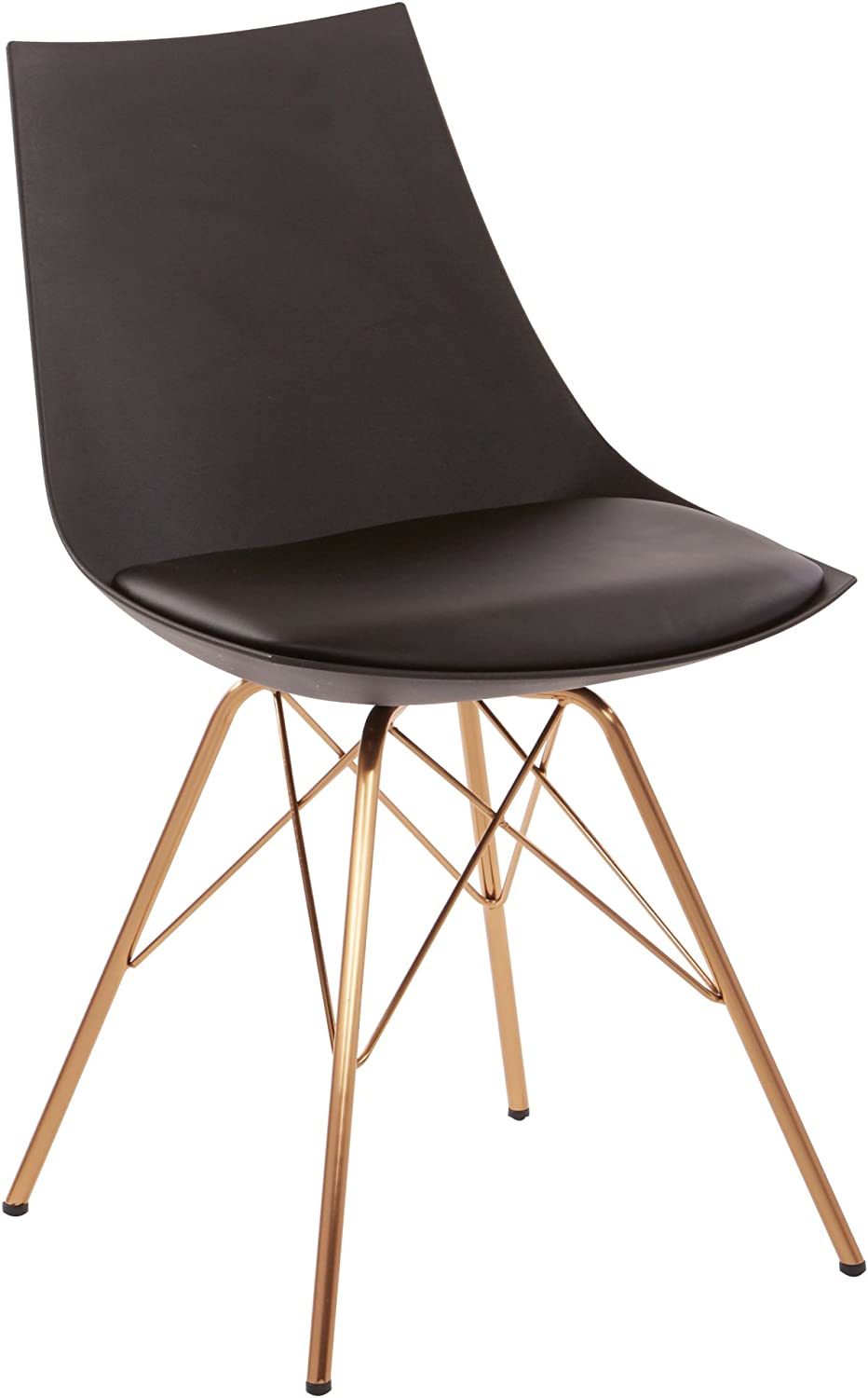 OSP Home Furnishings Oakley Mid-Century Modern Bucket Chair, Black: Furniture & Decor