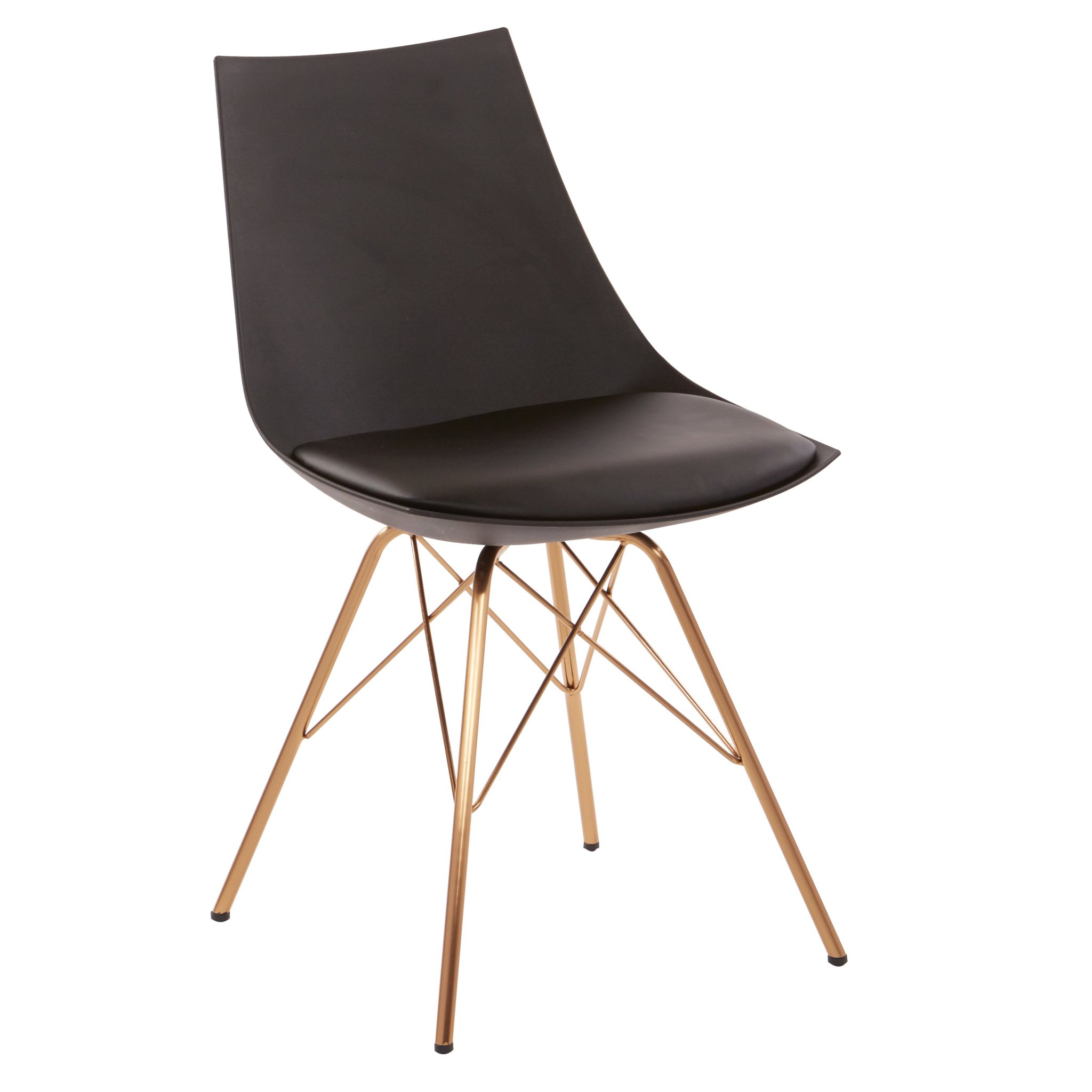 Avenue Six AVE SIX Oakley Faux Leather Task Chair with Gold Chrome Base, Black