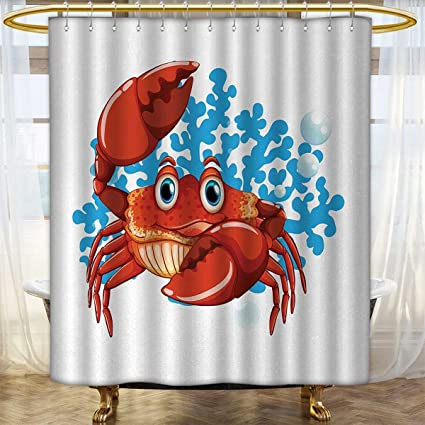 Crabs Shower Curtain Customized Cartoon Style Aquatic Animal With Blue Coral Reef In The Back Marine