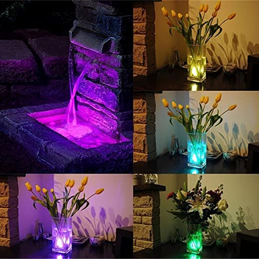 4 Piezas Luz de LED Luces de la Piscina con Cambio de Color RGB Luces al aire libre IP68 para decoración con Mando a Distancia Luces Flotantes para Tanque ...