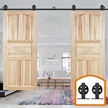homedeco hardware 6 ft doble madera Kit Negro Gran continúa rueda Roller puerta corrediza de granero Hardware armario de garaje de acero al carbono soporte de sistema de guía: Amazon.es: Bricolaje y