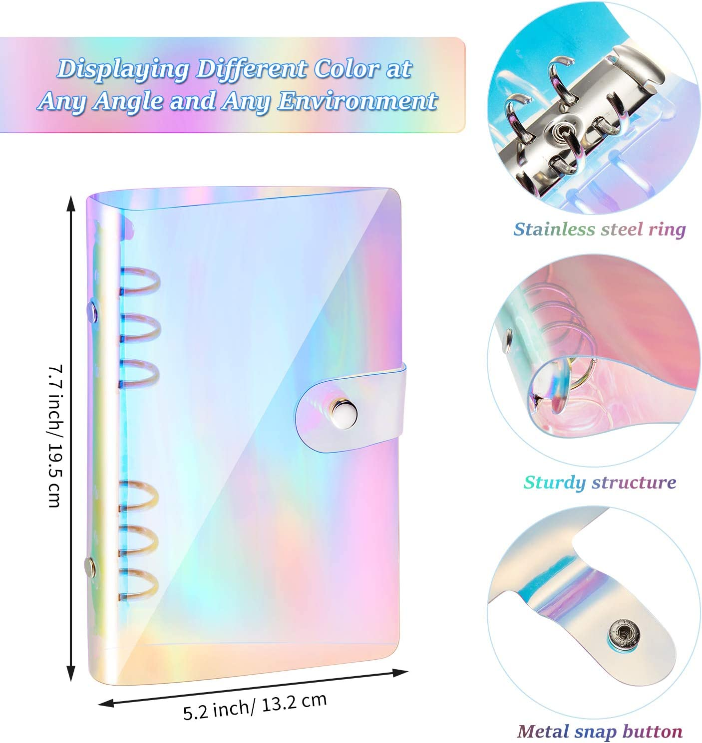 A6 6-Ring Rainbow Soft PVC Notebook Cover/Binder Cover Colorful Round Ring Protector with Snap Button Closure/12 Binder Pockets A6 Size 6 Holes Binder Zipper Folders and 1 Pack 45 A6 Loose Leaf Paper
