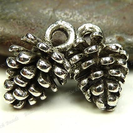 e252da62ba5 Amazon.com  20 Pine Cone Charms 3D Antique Silver Tone Metal - 10 mm ...
