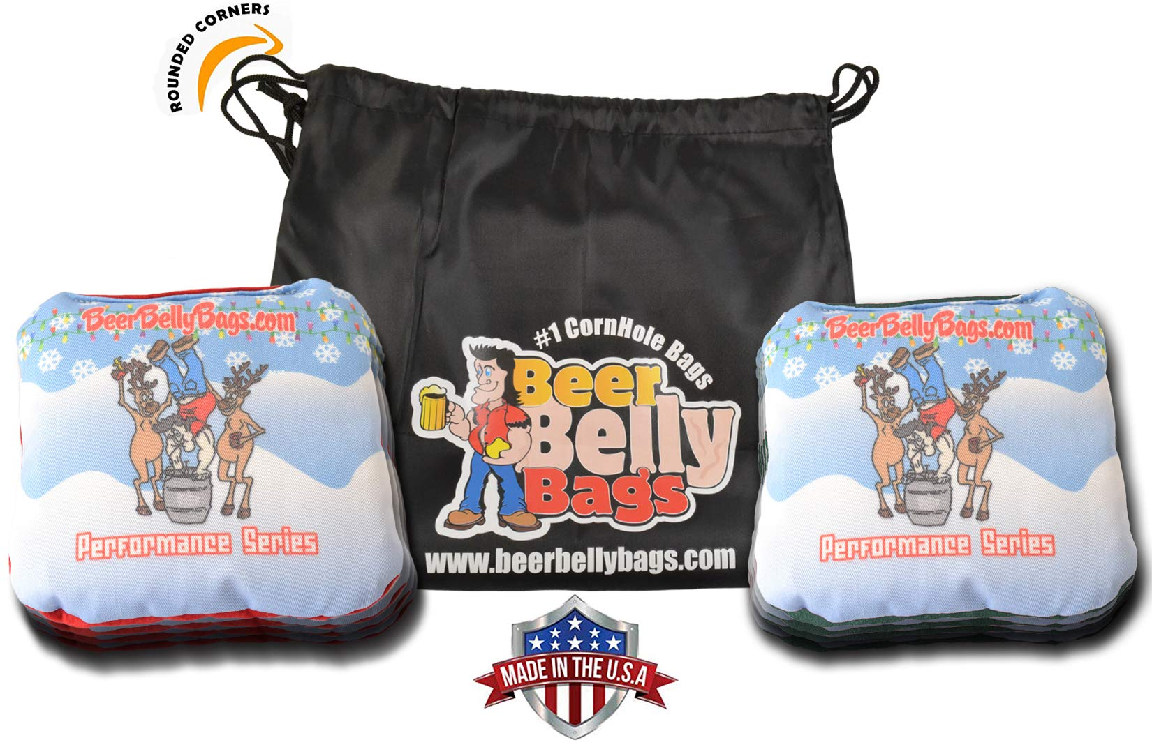 Beer Belly Bags Cornhole - Performance Series 8 Bags ACL Approved Resin Filled - Double Sided - Sticky Side | Slick Side (Keg Stand Kenny) by Beer Belly Bags