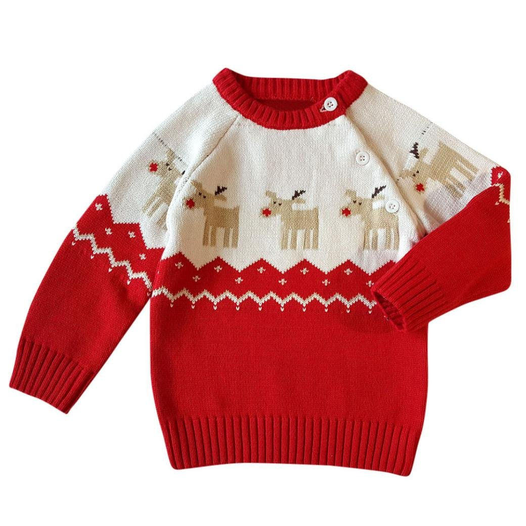 Vicbovo Clearance Sale Toddler Baby Boy Girl Christmas Sweater Button-up Lovely Knit Pullover Winter Clothes