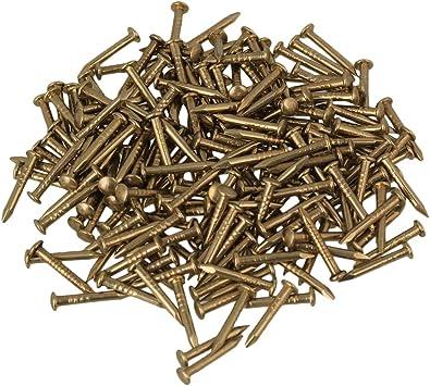 BQLZRN21207 BQLZR cabeza redonda lat/ón envejecido cobre puro muebles miniatura clavos Pack de 100 dorado