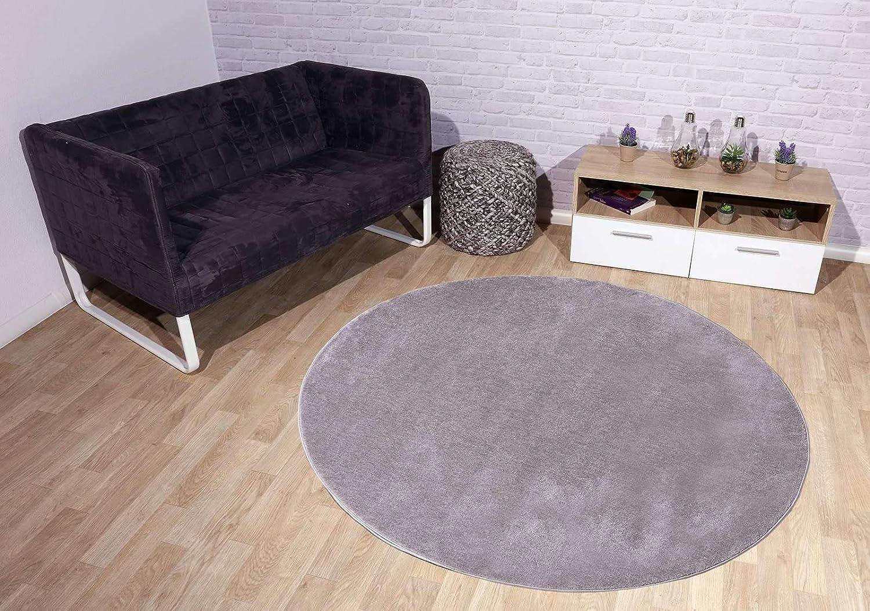 Taracarpet Kurzflor-Designer Uni Teppich extra weich fürs Wohnzimmer, Schlafzimmer, Esszimmer oder Kinderzimmer Gala grau 200x200 cm rund