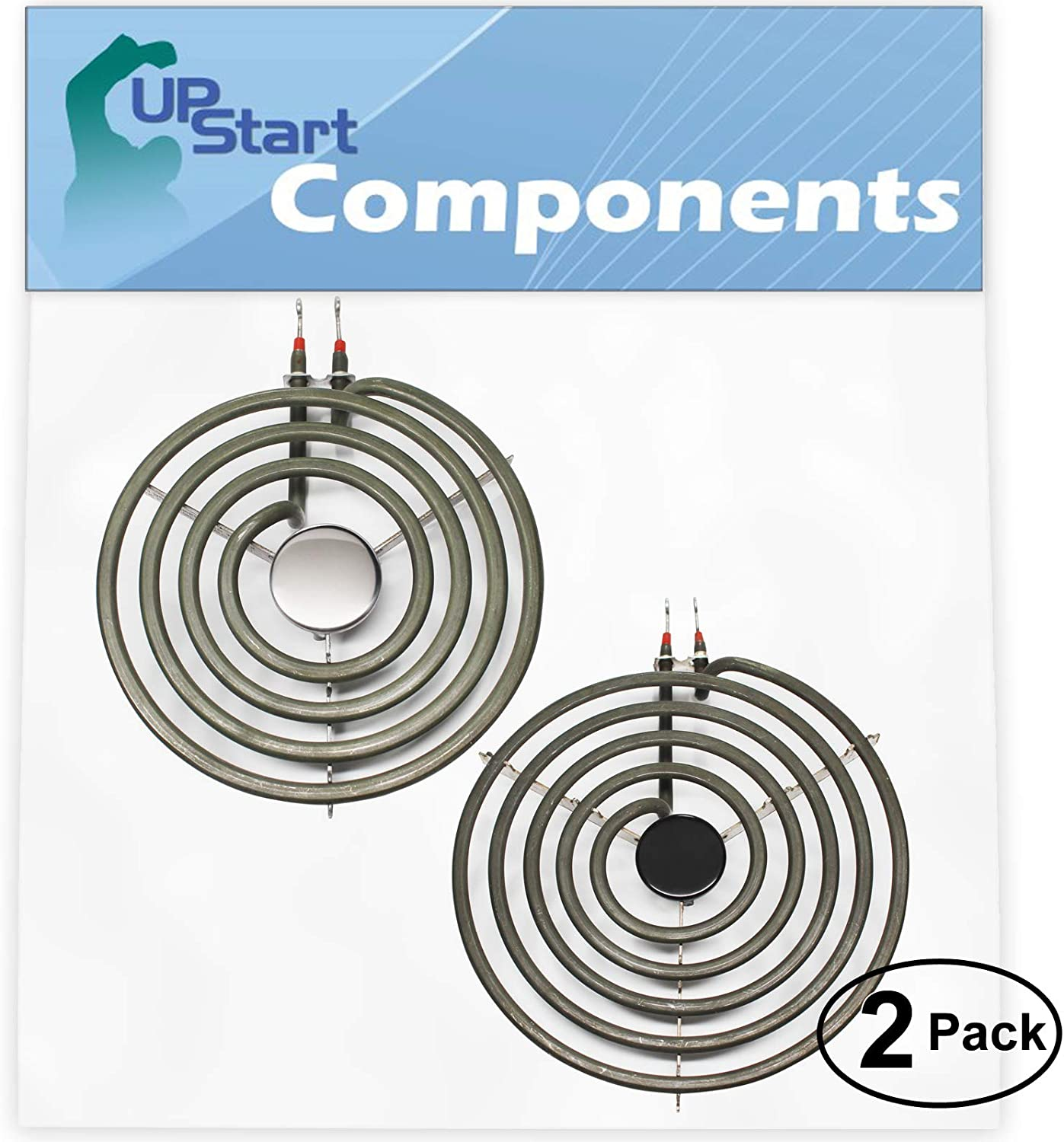 2-Pack Replacement for Frigidaire FEF450BWE 8 inch 5 Turns & 6 inch 4 Turns Surface Burner Elements - Compatible with Frigidaire 316442301 & 316439801 Heating Element for Range Stove & Cooktop