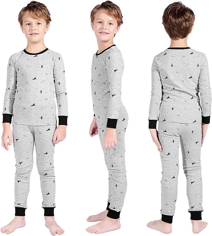Long Sleeve Pajamas Sets Sleepwear Nightwear Premium Girls Boys Rocket Pajamas Children Christmas Pants Set Size 6-14 Years
