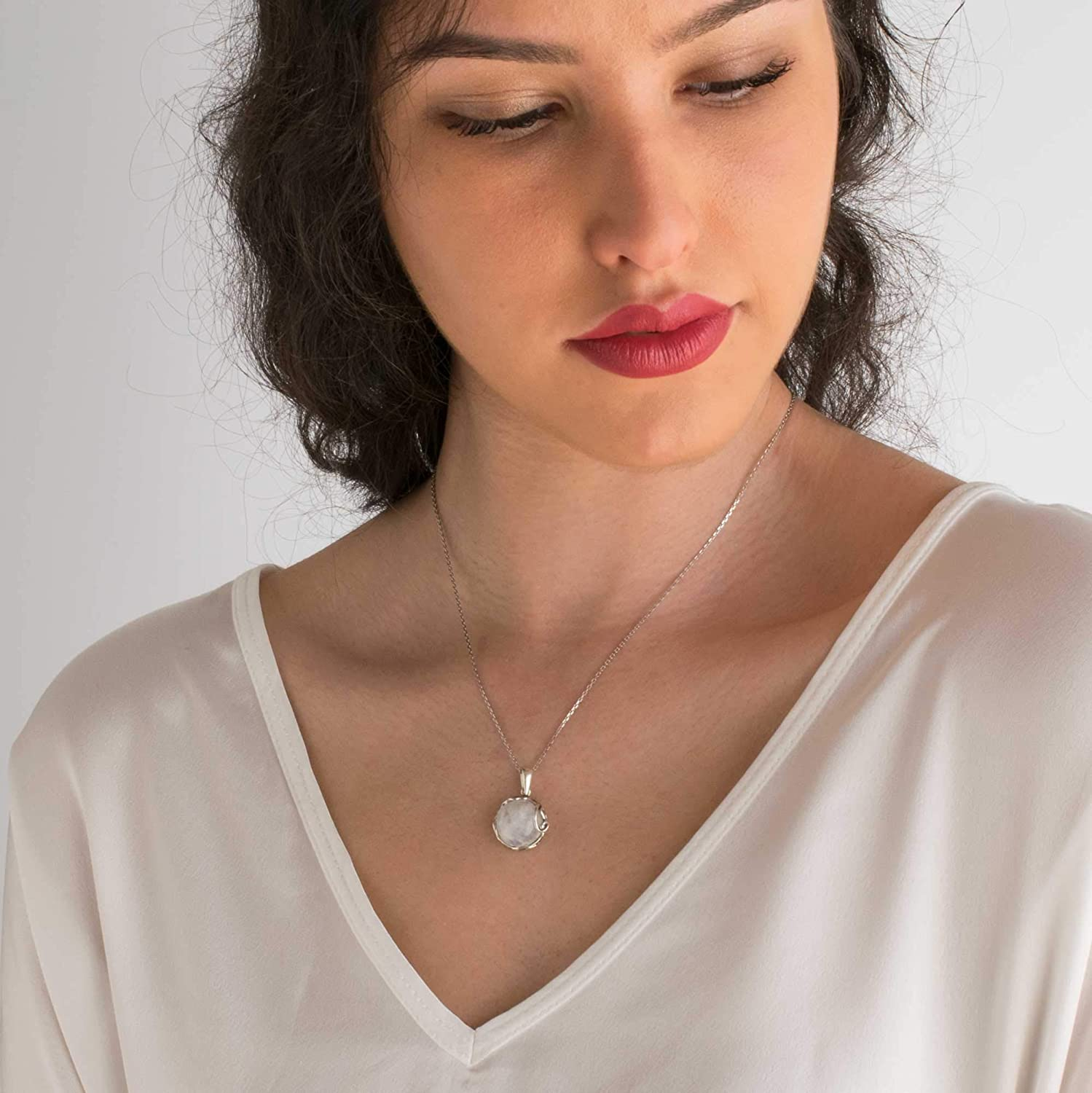June Gemini Birthstone Birthday Present Unique Handmade Artisan Jewelry 14mm White Iridescent Round Gemstone Pendant Vintage Style Gift for Women 925 Sterling Silver Natural Moonstone Necklace