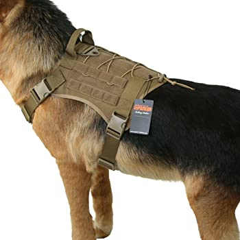 excellent elite spanker tactical service dog vest training hunting molle nylon water resistan military patrol adjustable k9 dog harness with handle