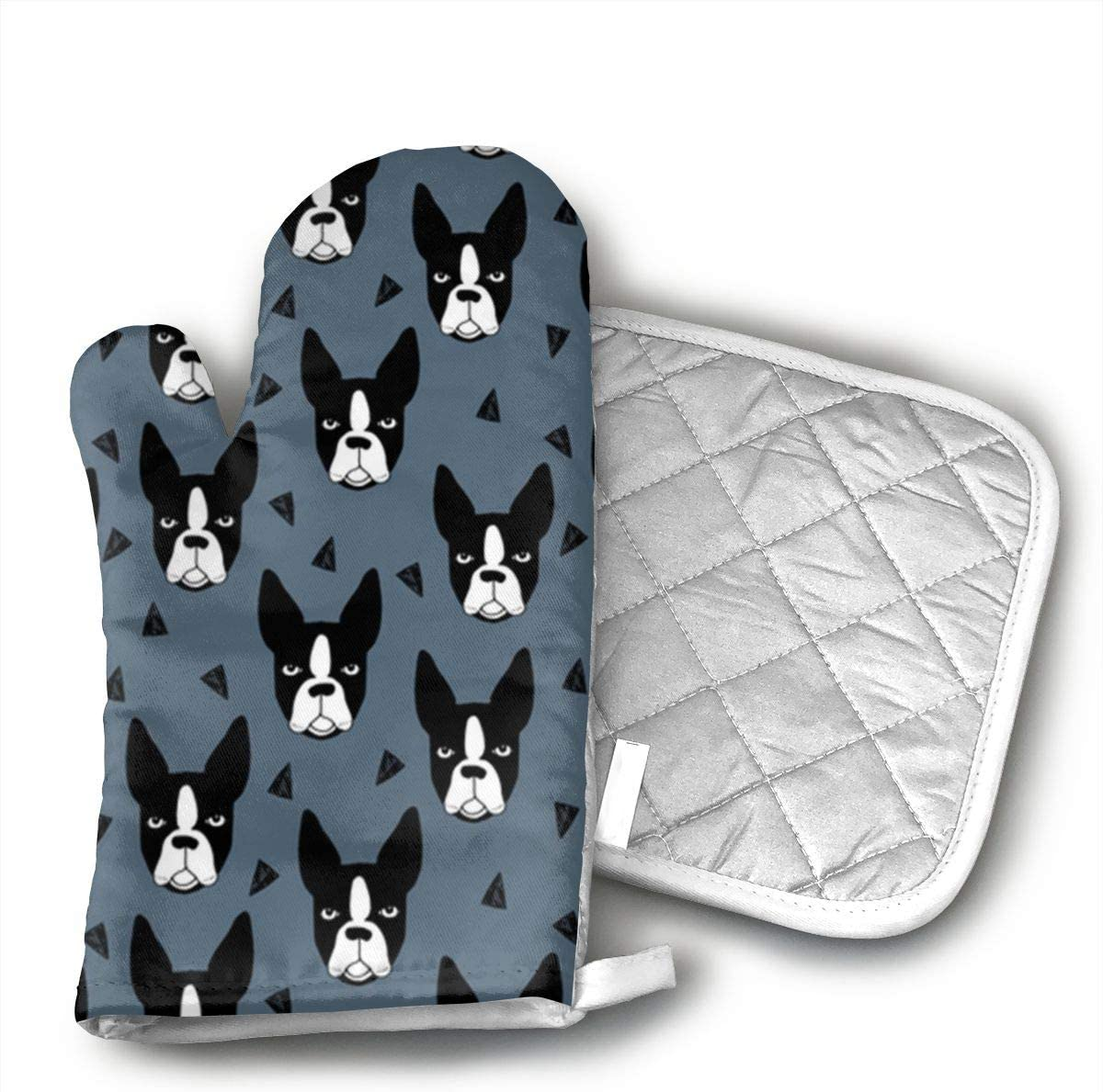 JFNNRUOP Boston Terrier Oven Mitts,with Potholders Oven Gloves,Insulated Quilted Cotton Potholders