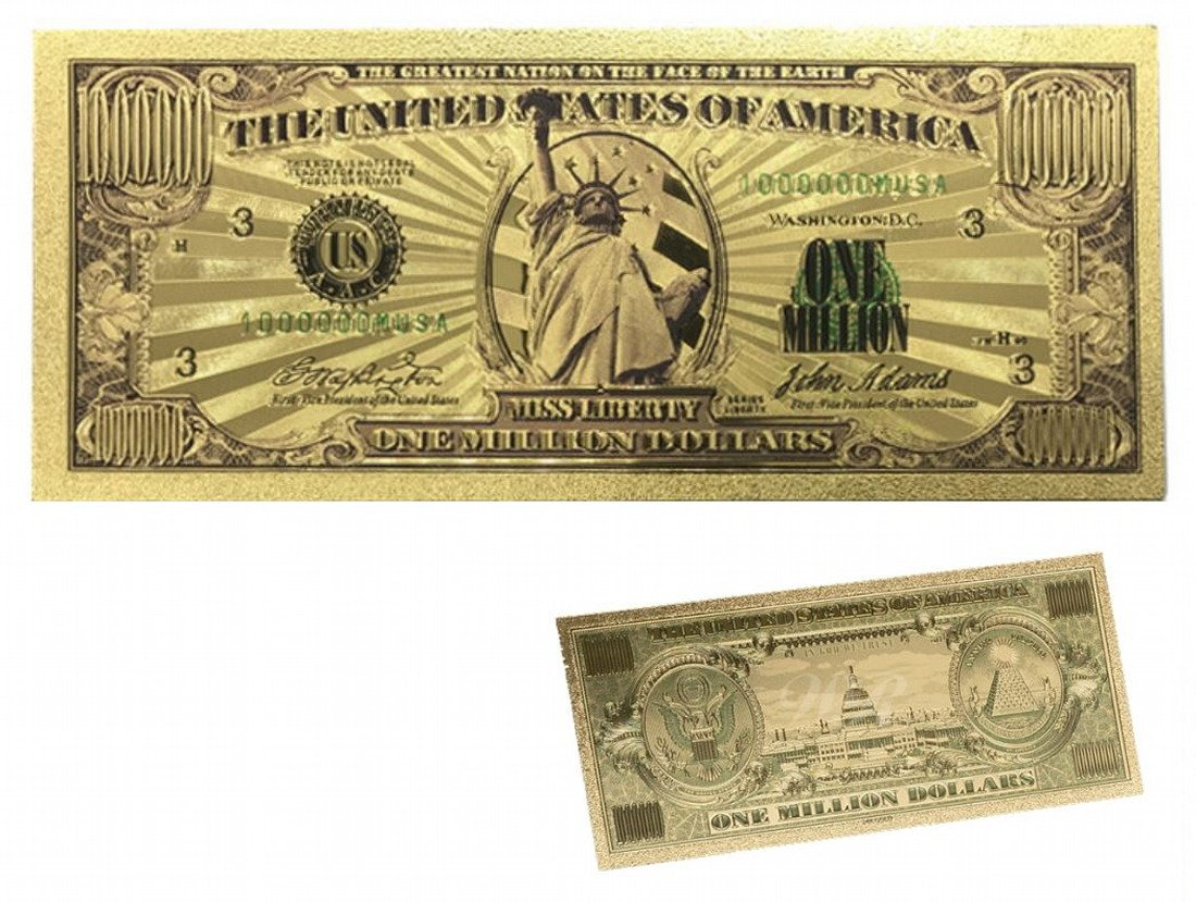 Lamina d'oro 24K Banconota da 1 milione di dollari Dollaro Americano 1 milione di dollari Denaro di lamina d'oro americano Banconote in oro ARUNDEL SERVICES EU