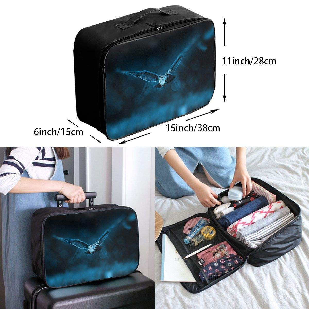 Canvas Travel Weekender Bag,Fashion Custom Lightweight Large Capacity Portable Luggage Bag,Suitcase Trolley Bag 7 ADGAI Owl Series