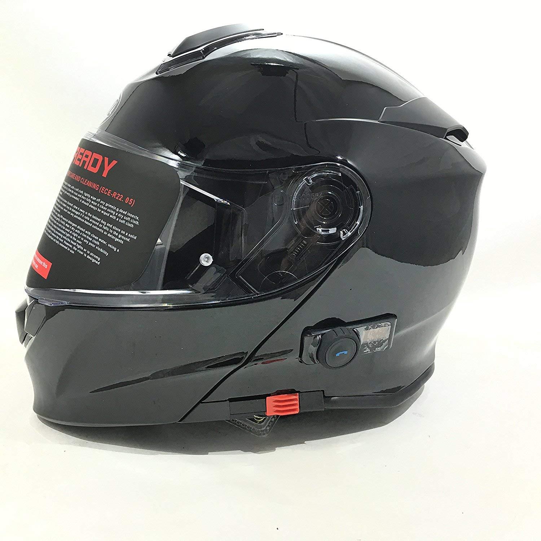 a581d2c1828 Vcan V271 BLINC Bluetooth con tapa frontal casco nuevo moto MP3 GPS FM de  comunicación de Modular casco negro mate con Kit para el cuidado y  pasamontañas ...