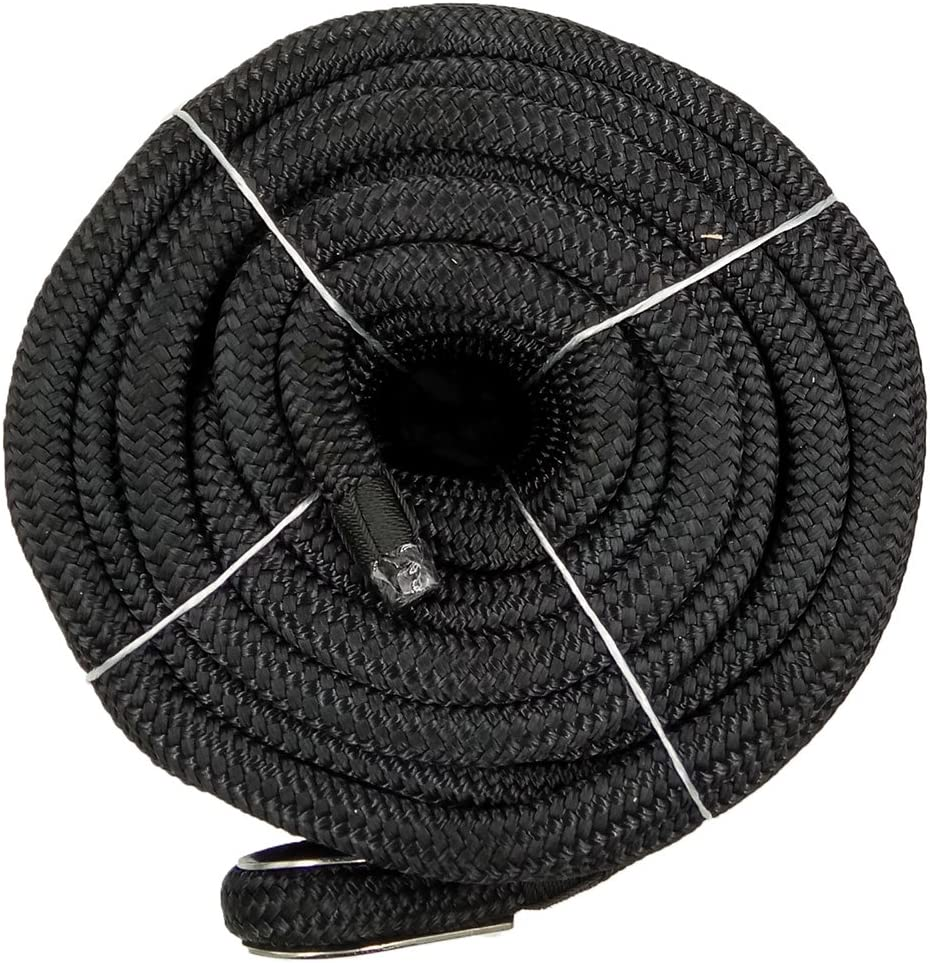 "US Ropes Nylon Double Braided Anchor Line 1//2/"" x 150/' Black"