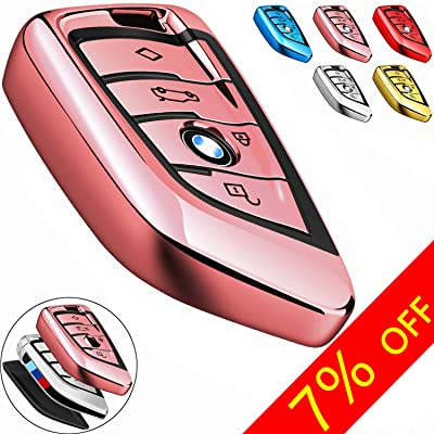 COMPONALL for BMW Key fob Cover, Key Fob Case for BMW 2 5 6 7 Series X1 X2 X3 X5 X6 Premium Soft TPU Anti-dust Full Protection, Rose Gold: Automotive