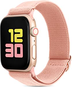 FITWORTH Adjustable Stretchy Nylon Watch Band Compatible with Apple Watch 38mm 40mm, iWatch Series 6 SE 5 4 3, Ultra Soft, Light & Breathable, Suit for Men's Women's Sports & Workout (38/40, Pink)