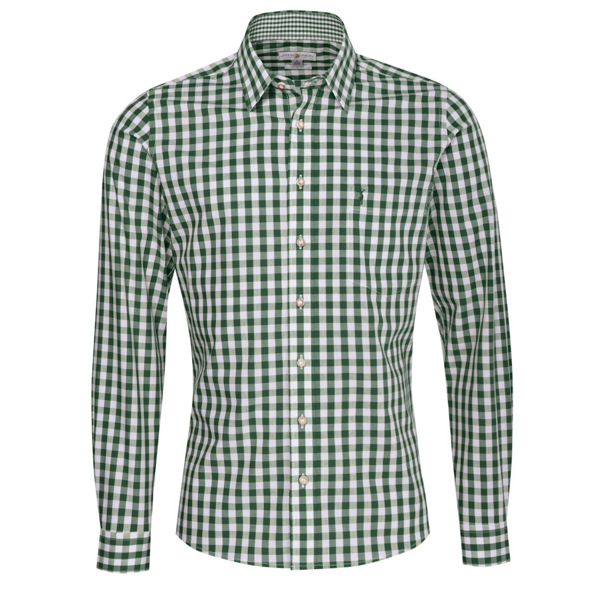 Almsach Trachtenhemd Herbert Slim Fit in Dunkelgrün Inklusive Volksfestfinder Größe:S Farbe:Dunkelgrün
