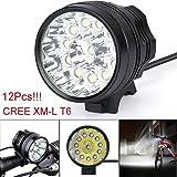 Lumière de vélo,Internet 30000 Lumens Tactical LED 12x CREE XM-L T6 Lumière de bicyclette Super Bright militaire de grade étanche lampe frontale 3 Modes Lampe frontale