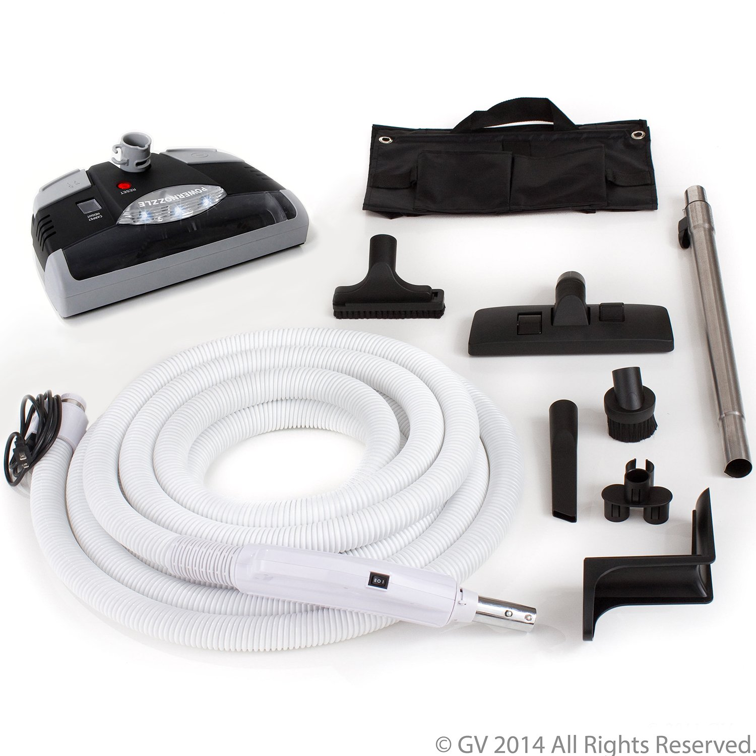 GV Central Vacuum kit with Power Head 30 foot hose and tools designed for Beam Electrolux Nutone Hayden designs to fit all brands white head 30ft Central